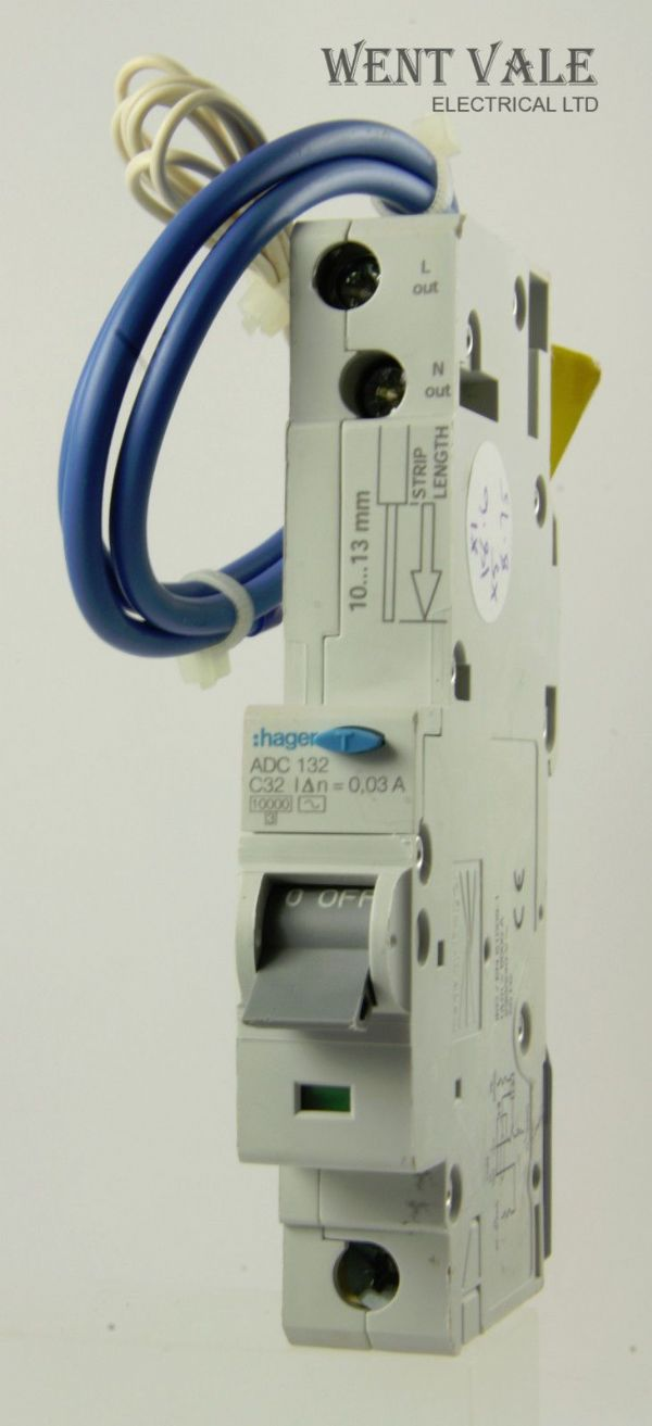 Hager ADC132 - 32a 30mA Type C Single Pole RCBO Used